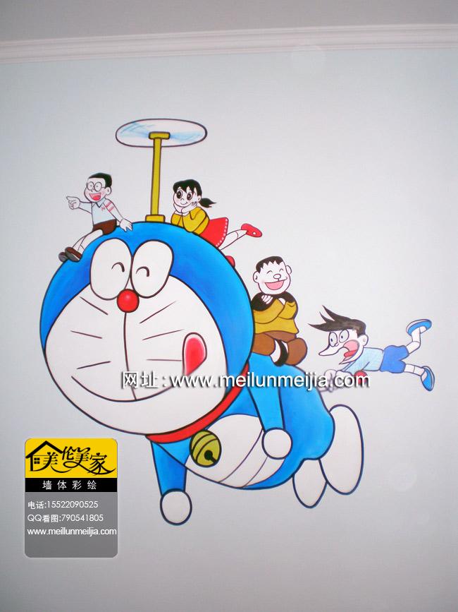 天津手绘墙-天津墙画-墙体彩绘; 机器猫天津手绘墙大熊天津墙绘室内