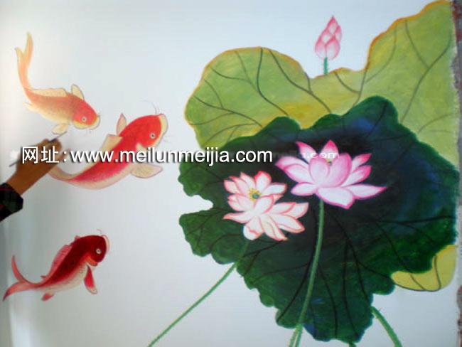 天津墙体彩绘天津墙绘手绘墙画荷花墙绘花卉手総画