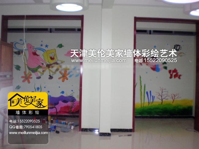 海绵宝宝幼儿园墙绘卡通手绘墙儿童房墙体彩绘格