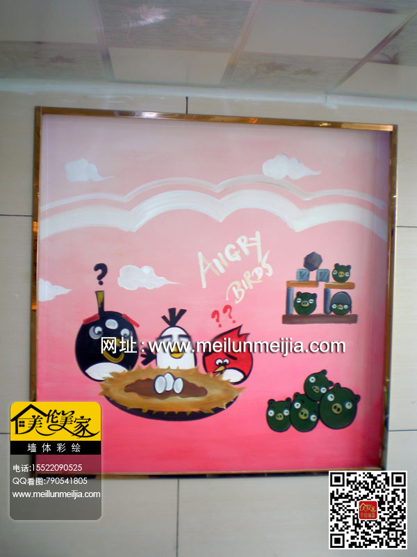 墙绘 愤怒的小鸟手绘,店铺装修墙画效果图素材资料