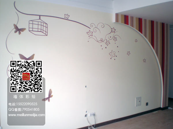 天津影视墙墙体彩绘电视背景墙墙绘室内精装墙面彩绘手绘墙画小鸟温馨
