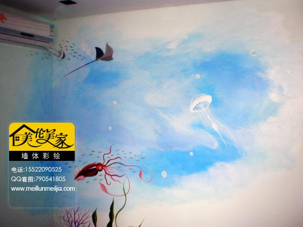 蓝天白云手绘墙