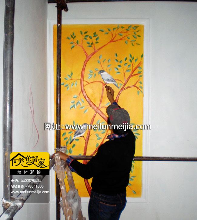 树手绘墙天津墙绘天津墙体彩绘天津手绘墙画墙绘素材墙画价格室内墙面