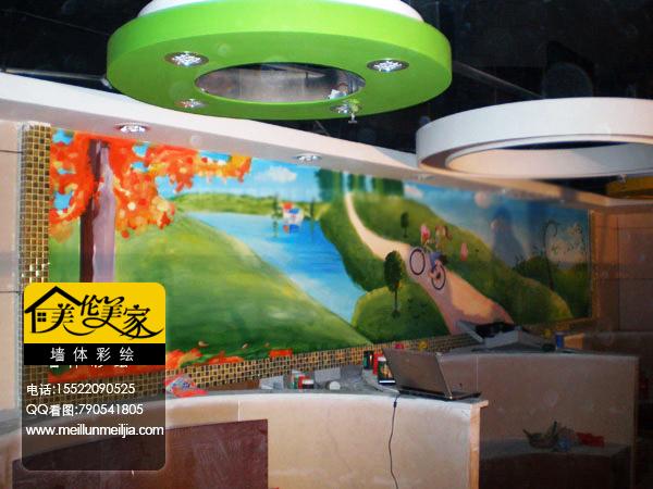 天津酒店墙绘饭店手绘墙会所墙体彩绘餐厅墙面彩绘风景类墙体涂鸦立体小船手绘画彩绘装修装饰公司墙绘案例图