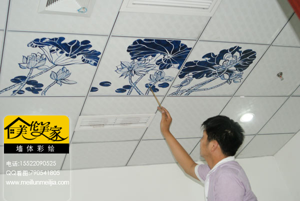 青花瓷墙体彩绘——手绘墙荷花手绘墙画 荷花荷花水墨荷花国画荷花