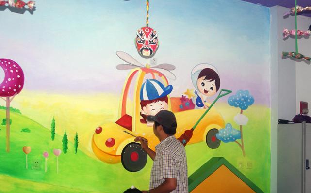 天津幼儿园墙体彩绘室内墙面彩画汽车墙绘城堡手绘墙