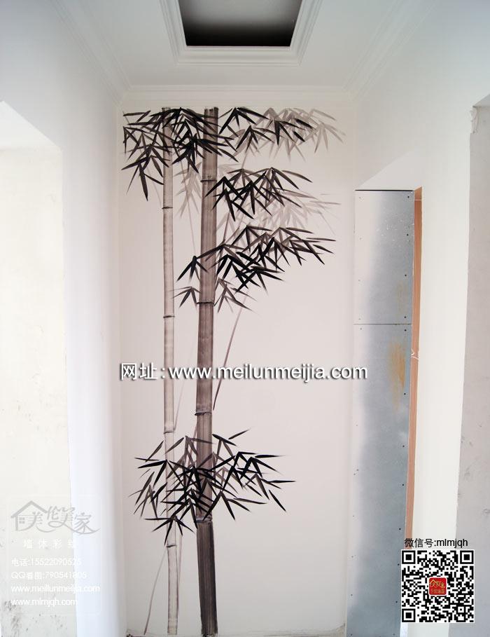 墙面墙体彩绘对称彩绘背景墙简约欧式藤蔓墙绘花纹手绘墙玄关过道竹子