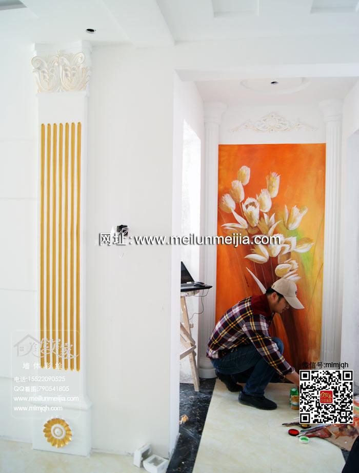天津墙体彩绘和平诚基中心国际公寓墙绘荧光画手绘墙壁画过道玄关墙体彩绘走廊手绘墙