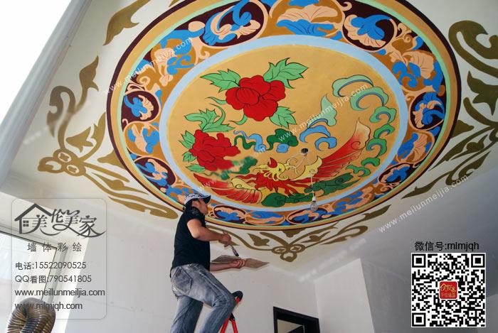 天顶壁画吊顶彩绘吊顶手绘墙-墙绘案例