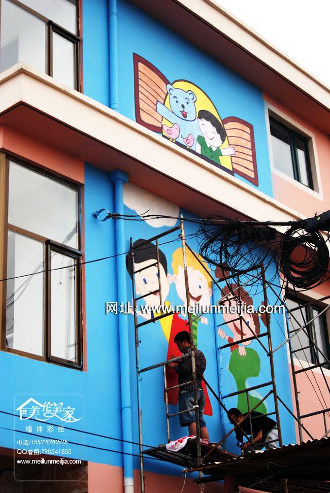 天津工程墙绘幼儿园手绘墙大型工装喷绘牌匾墙绘
