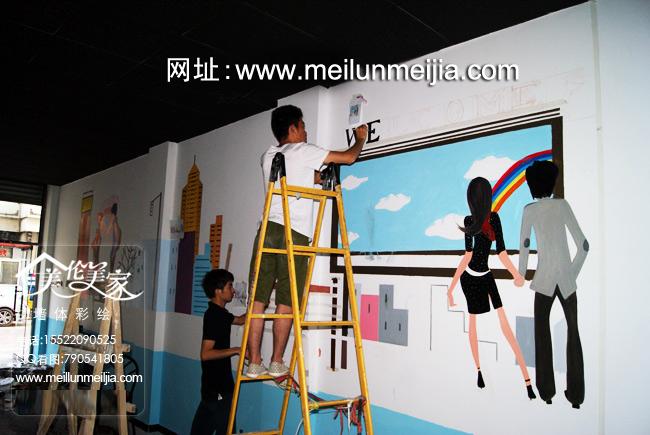 天津墙绘西青区麻辣烫墙体彩绘火锅手绘墙店铺彩绘室内商家大厅手绘
