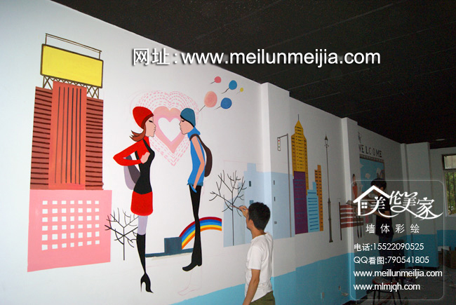 墙店铺彩绘室内商家大厅手绘墙面彩绘喷绘时尚丽人工程火锅店餐厅墙体
