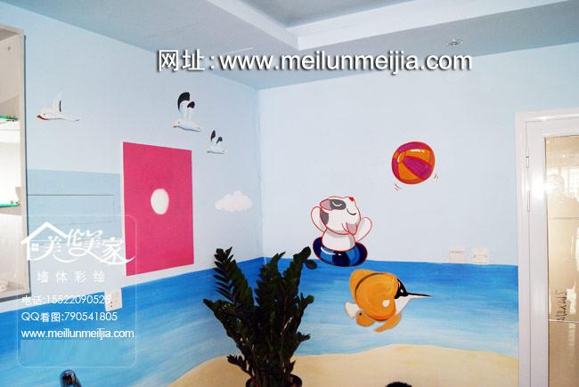区手绘墙卡通婴儿墙绘快乐游泳馆手绘墙画保健宝宝游泳亲子墙体彩绘
