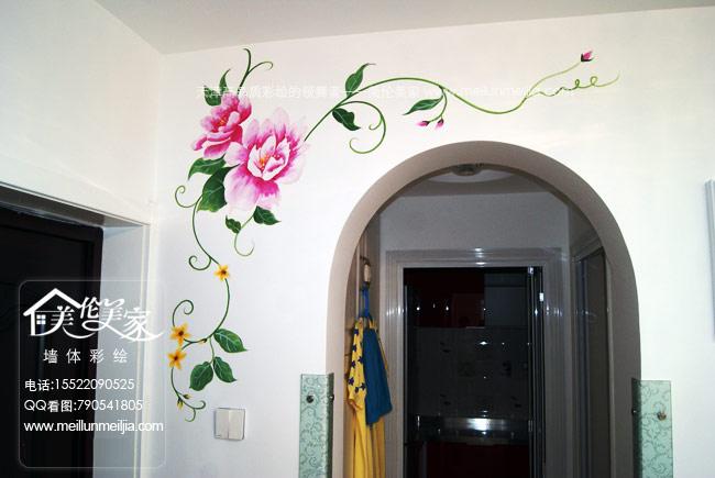 墙绘电视背景墙手绘墙画影视墙设计彩绘隐形门墙画设计竹子手绘墙中国