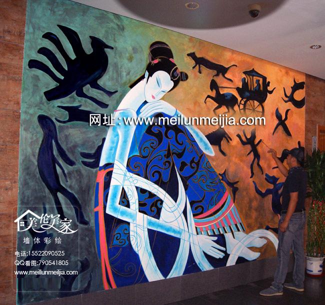 商业墙画,店面手绘墙,天顶画彩绘,停车场墙画,走廊墙上彩绘,楼梯间