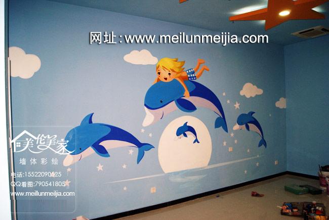 泳馆墙体彩绘卡通儿童墙绘