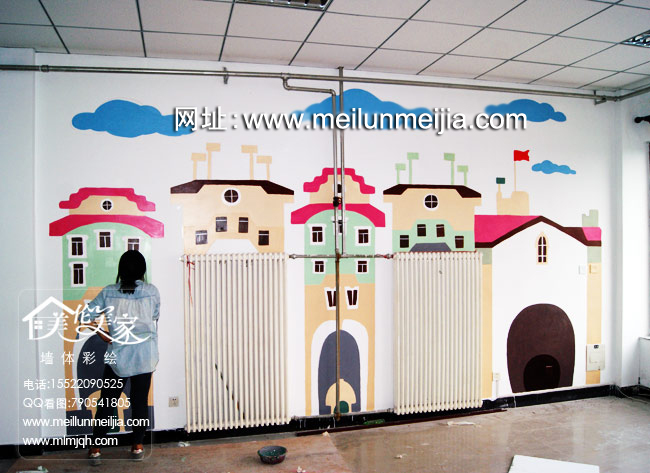 缤纷色彩创意墙面天津墙体彩绘天津墙绘天津手绘墙