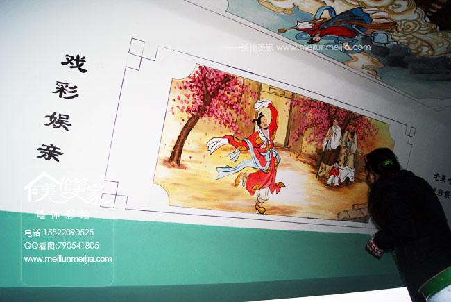 手绘墙画中国国古代天津墙绘天津墙体彩绘天津手绘墙画墙绘素材墙画价