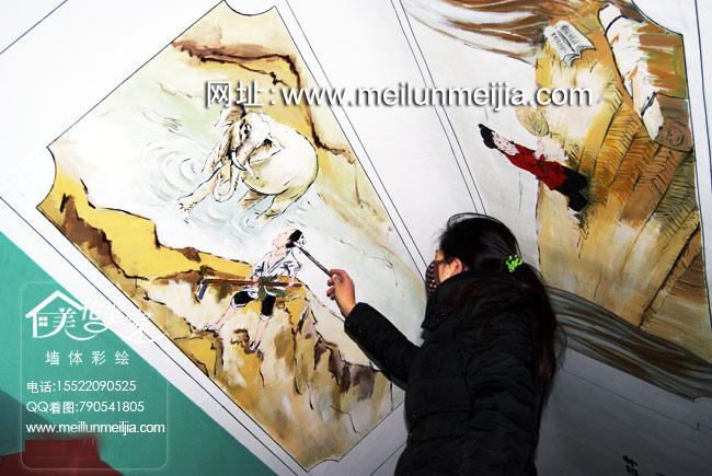 孝墙绘教育手绘墙画中国国古代天津墙绘天津墙体彩绘天津手绘墙画墙绘