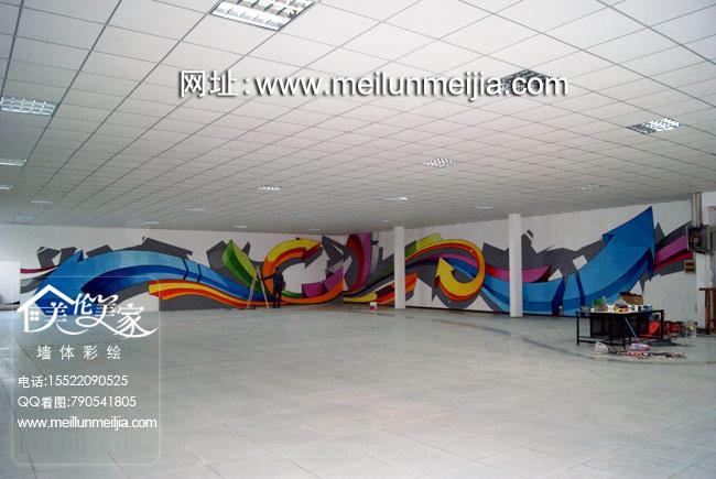 手绘墙画几何图案壁画创意时尚前卫墙体彩绘装饰墙面网伽墙体修天津