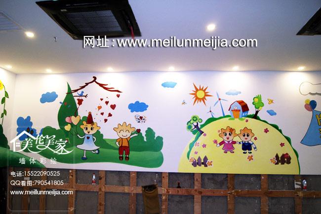 材墙画价格室内墙面装饰 -天津蛋糕生日蛋糕墙体彩绘海底捞儿童区