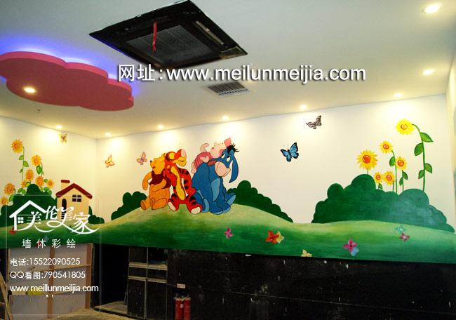 天津饭店墙体彩绘火锅店墙绘海底捞儿童区手绘墙画卡通壁画酒店装饰