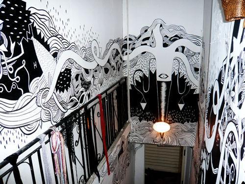 船抽象简约个性手绘墙画天津墙绘天津墙体彩绘天津手绘墙画墙绘素材墙