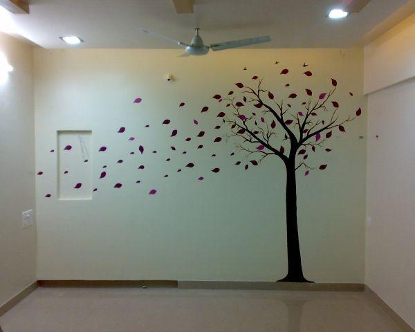 树叶墙体彩绘天津塘沽墙绘客厅背景墙手绘墙素材材料