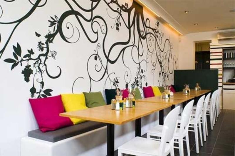 天津餐厅墙体彩绘饭店墙绘店铺手绘墙画商业彩绘藤蔓墙体彩绘葡萄墙绘