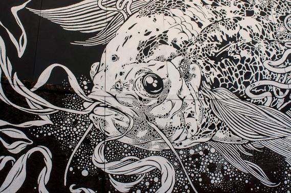 天津室外餐厅墙体彩绘鱼时尚墙绘简约时尚类手绘墙店铺商铺商业墙体彩