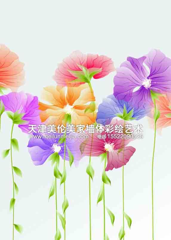 墙体彩绘花朵图片素材描述