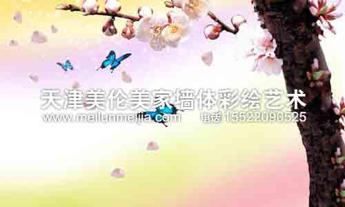 桃花树墙体彩绘客厅手绘画墙体彩绘自然墙体彩绘花瓣墙体彩绘清新墙