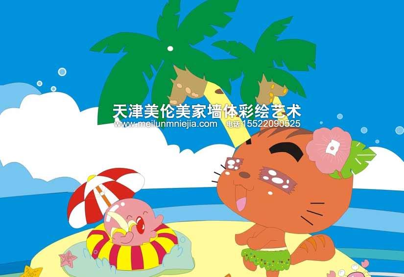 海滩手绘高清动漫