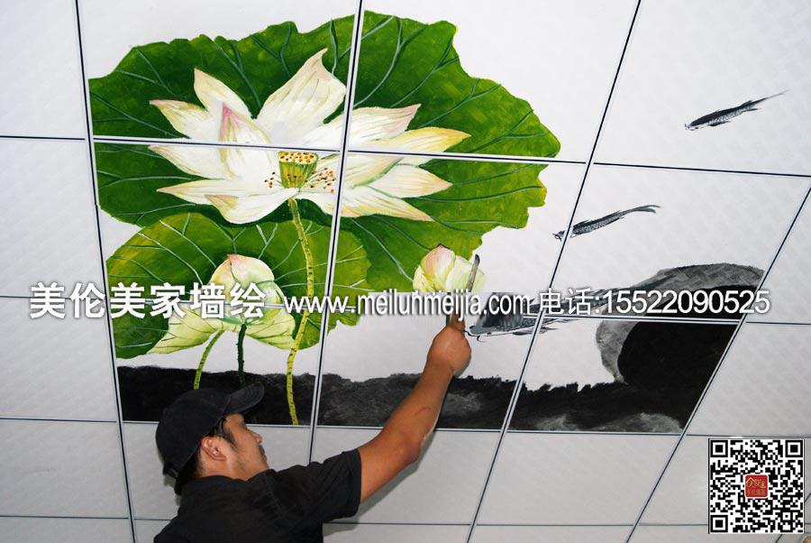 水墨荷花墙绘/天津墙体彩绘/韩国家庭装修插画彩绘/手绘墙壁画