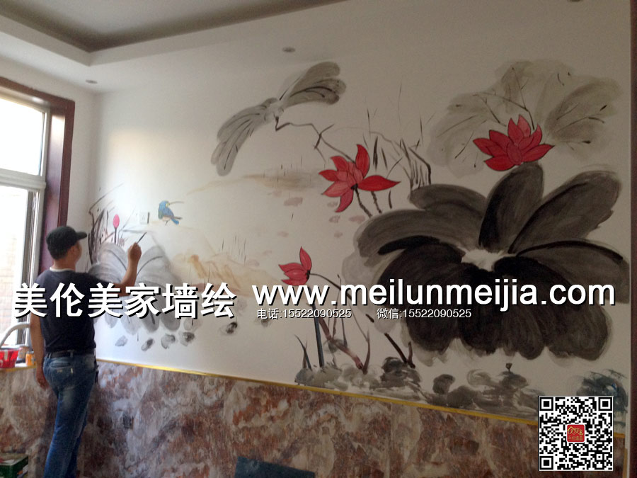 天津蜀香居食府墙绘餐饮接待厅手绘墙画店铺喷绘墙体彩绘商业手绘墙