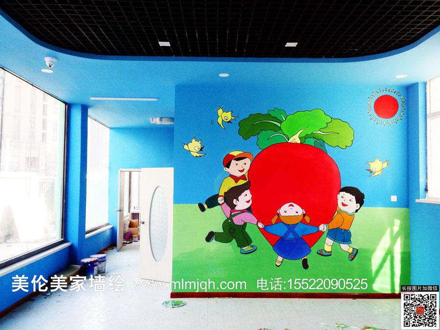 天津墙体彩绘/天津手绘墙/壁画/创意彩绘/学校教室幼儿园早教中心墙画