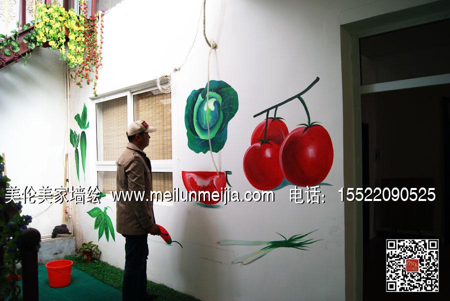 天津农家乐墙绘-蔬菜手绘墙画/食物墙体彩绘/文化墙彩绘/新农村建设