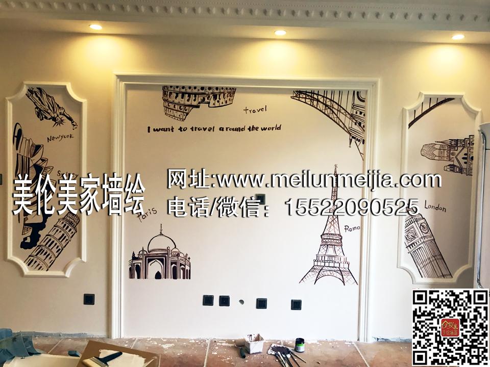 隐形门墙绘,电视背景墙手绘墙,玄观风景装饰画,创意手绘墙体