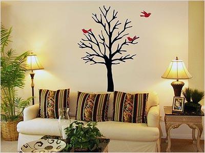 天津背景墙面树墙绘画室装修墙小鸟沙发墙墙墙体内彩绘手绘手绘墙画加油站手绘海报设计图片