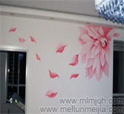 天津墙体彩绘花卉电视背景墙手绘墙沙发墙体彩画影视墙墙绘室内墙面装饰设计,影视墙,影视墙效果图->