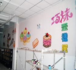 天津蛋糕屋墙绘店铺墙体彩绘塘沽滨海新区手绘墙壁画情侣浪漫爱情彩绘温馨手绘墙小清新手绘墙画冰淇淋彩绘樱->