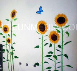 彩绘天津手绘墙画墙绘素材墙画价格室内墙面装饰  向日葵墙绘