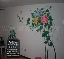 天津墙体彩绘,牡丹墙绘,牡丹墙体彩绘/中式天津墙绘天津墙体彩绘天津