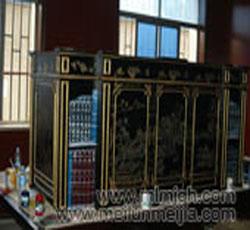 高档家具手绘彩绘金色山水画工笔彩绘家具柜子中式->