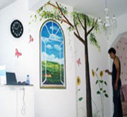 天津墙体彩绘窗户墙绘室内风景油画手绘墙->