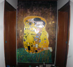 客厅墙绘手绘墙画吻奥地利画家克里姆特之作天津墙画天津墙体彩绘->