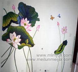 荷花手绘墙绘墙体彩绘-天津西青区溪秀苑->