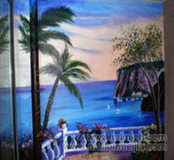餐厅风景类墙画下水道管子墙绘装饰隐形墙画-天津津南区米兰阳光->