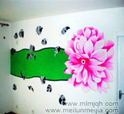 卧室墙面装饰天津浪漫手绘墙花朵墙体彩绘叶子墙绘客厅墙绘墙面设计->