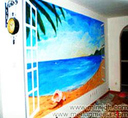 天津客厅墙面海边背景手绘墙大海墙体彩绘海螺手绘面椰树墙面彩绘海沙墙绘室内展示室外的风光窗户->
